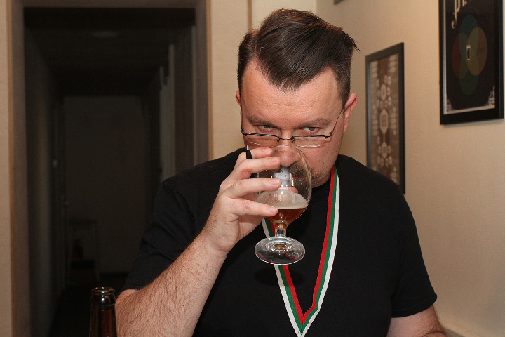 Damir Ban judging at the Bulgarian homebrew competition.