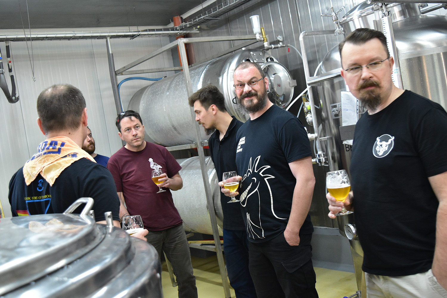 The lads get a tour at Rhombus Craft Brewery.